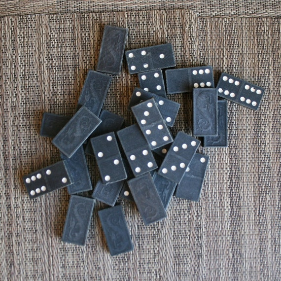 Vintage Black and White Dragon Carved Dominoes - 26 Tiles