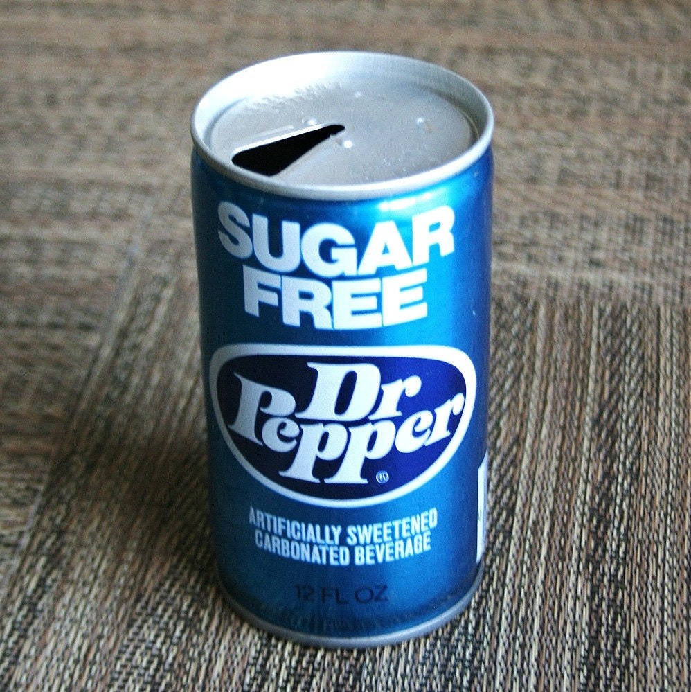 Vintage 1970s Blue Sugar Free Dr Pepper Steel Can Pull Tab