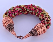 Kumihimo Bracelet done in Tri-Color Ribbon, Rose, Yellow and Green with Copper Findings