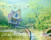 Whimsical house on lake with fairy 16x20 print