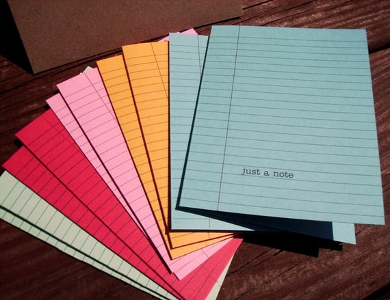 Colored Notebook Paper Stationery - Set of (10) Note Cards