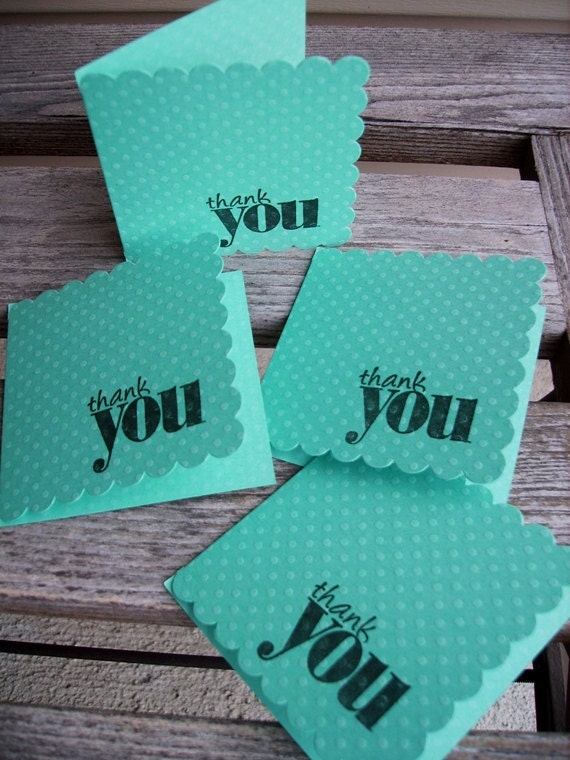 Mini Thank You Note Cards - Bright Teal Embossed Dots, Scallop Edge