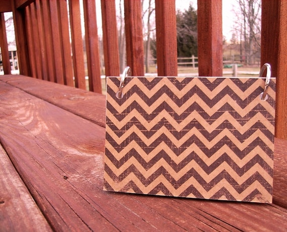 Index Card Jotter, Notebook Binder, Paper Notebook - Black Kraft Chevron