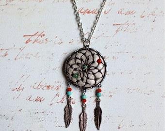 Jade Flower Dream Catcher Necklace
