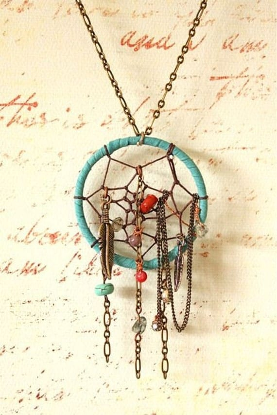 Etsy Chain Necklace Chained Dream Catcher Necklace