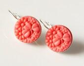 SALE - Coral Shamrock Earrings