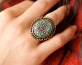 Bohemian Holiday Cocktail Ring, Vintage Glass, Hanadmade