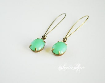 Smooth Mint Earrings - Vintage Green Glass Dangle