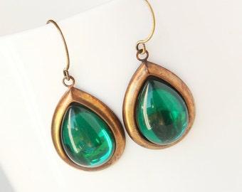 Gypsy Tears - Vintage Emerald Glass Earrings, Tear Drop, Green Smooth Gem, Antiqued Brass