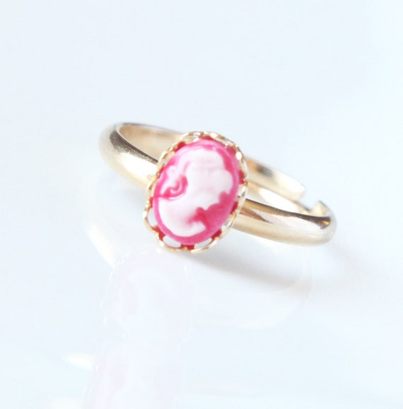 Cameo Ring, Teeny Tiny, Hot Pink, Adjustable, Gold