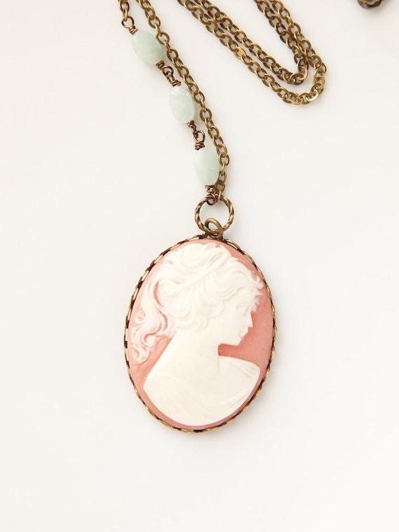 Cameo Necklace, Vintage Peach and Seafoam, Handmade