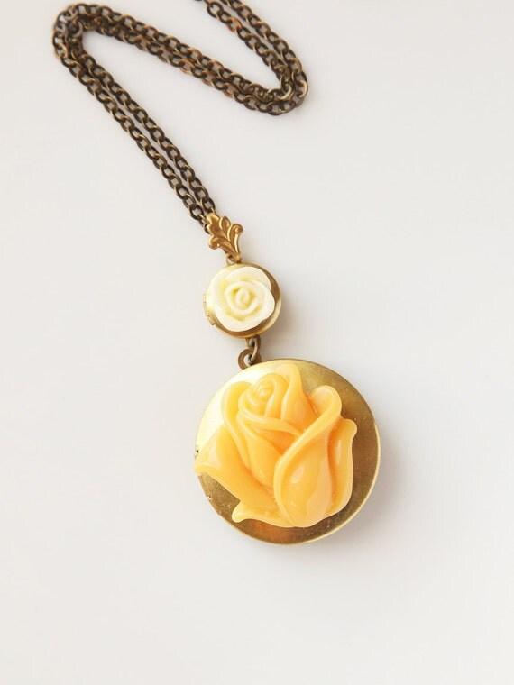 Vintage Floral Locket Necklace, Harvest Blossoms, Handmade