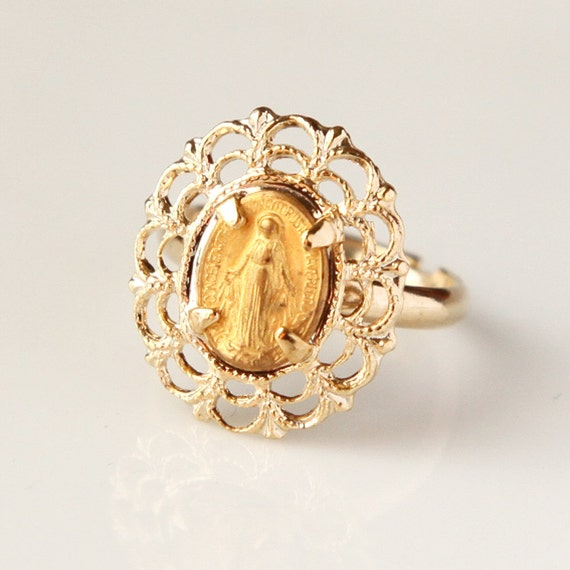 Mother Mary Ring, Vintage Religious, Handmade, Gold