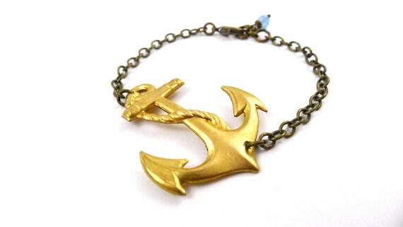 Anchor Bracelet, Ahoy Bracelet, Nautical Brass Anchor