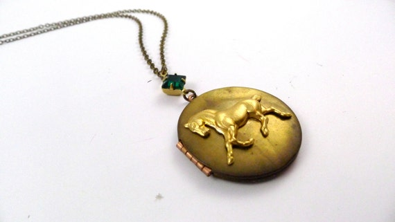Vintage Horse Locket, Canter Locket, Handmade, Equestrian Long Chain Necklace, Kentucky Derby Style