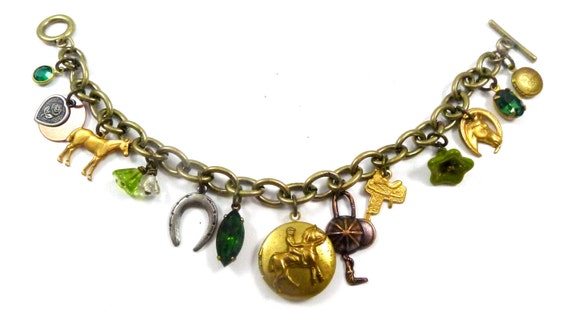 Vintage Charm Bracelet, Happiness is Equestrian Horse Riding, Handmade, Flowers, Heart, Locket, Horse, English Riding, Horseshoe, Green Gem