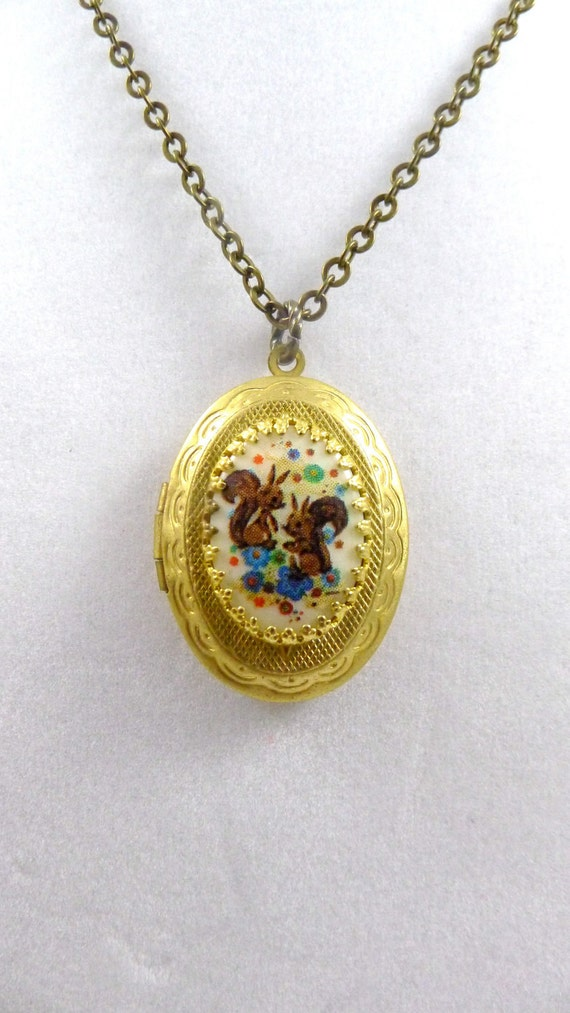 Vintage Locket Necklace, Squirrel Party, Handmade