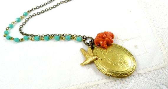 Hummingbird Delight Necklace, Handmade Bird Jewelry, Vintage Locket, Coral Flower, Humming bird charm