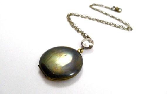 Simple Treasure Locket, Handmade Jewelry, Vintage Brass Locket and VIntage Clear crystal Gem