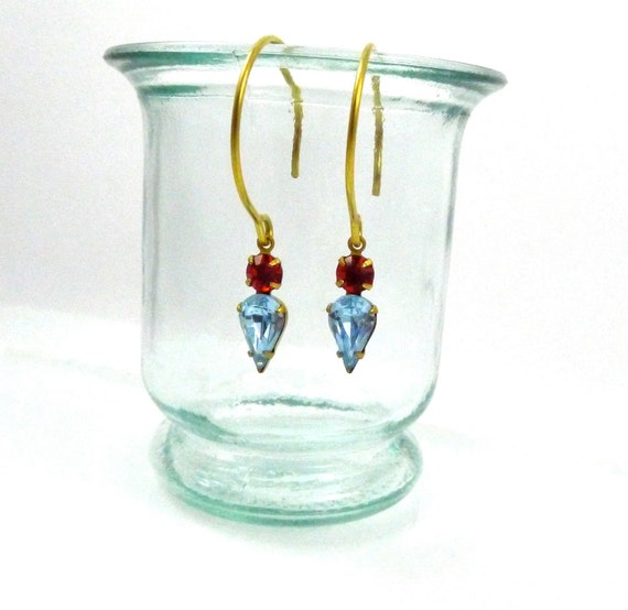 Glass Arrowhead Earrings, Vintage Light Blue and Red Rhinestones on Brass Ear wires