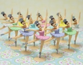 12 Ballerina's with Assorted Pastel Color Tutu's Perfect for Cupcake Toppers or Cakes, Very Vintage Looking, Hand Painted