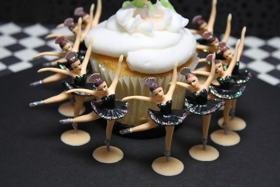 12 Ballerina Cupcake Toppers Black Tutu's With Glitter Very Vintage Looking, Custom Hand Painted