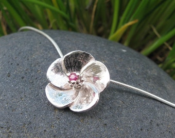 Ko'oloa'ula Sterling Silver and Ruby Pendant