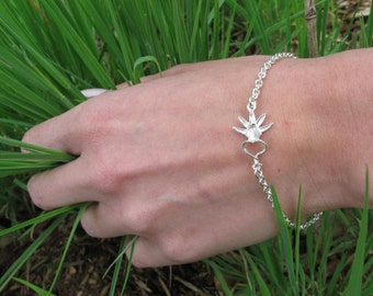 Small Ghost Orchid Sterling Silver Bracelet
