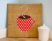 Cafe or Kitchen Wall Hanging- Red & White Coffee Applique on Recycled Burlap