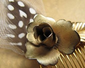 Gold Flower Tulle and Feather Hair Comb - Vintage Assemblage