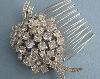 Wedding Hair Comb - Floral Bouquet - Crystal - Rhinestone