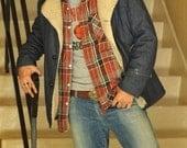 80s Men's Denim Fleece Coat
