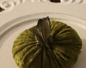 Pumpkin in Green Panne Velvet - Medium - with handmade stem