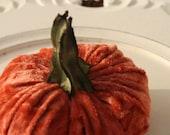 Orange Pumpkin in  Crushed Velvet - Small