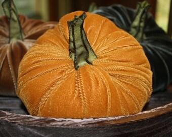Pumpkin in Mustard  Plush  Velvet - medium - with handmade stem