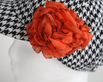 Flower Pin and Hair Clip - Tangerine/Orange