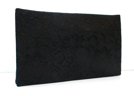 Holiday Black lace clutch. Evening cocktail bag.