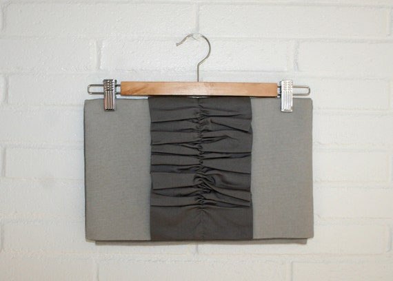 Ruffle clutch purse with fold over flap. Grey on Grey.
