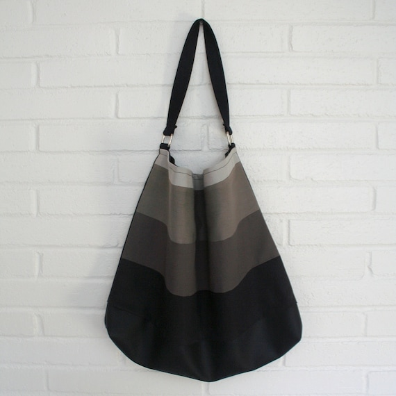 Ombre hobo bag. Black and grey gradient purse.