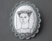 Lady Cameo Brooch - Fabric and Crochet Art Brooch - Portrait of Margaret - Last one