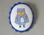 Cute Batman Brooch - Fabric and Felt Cameo Brooch - Soft Jewelry