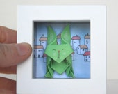 Paper Bunny in a Shadow Box Frame - Origami Bunny in the Village - Desk Accessory
