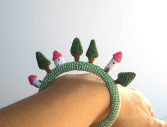 Crochet Bracelet - Tiny Village Bangle - Textile Jewelry - Fiber Bracelet with Houses and Trees - Crochet Jewelry - Made to order