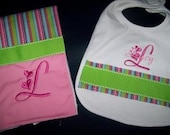 Cute Bib and Burp Cloth Embroidered Set --- Choose Font ---