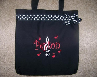 Music Tote Bag with Embroidered Name