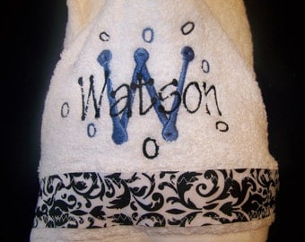 Custom Hooded Towel with Child's Name Embroidered and Ribbon Accent
