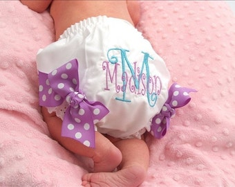 Personalized Diaper Cover Embroidered Diaper Cover or Monogrammed Diaper Cover with Bows attached at the legs