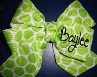 Personalized Lime Green Hairbow