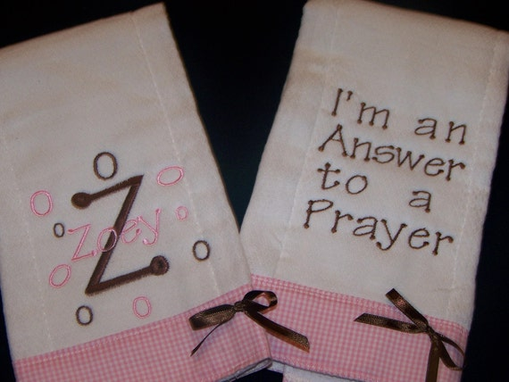 Burp Cloths. Set of 2 Personalized/Embroidered
