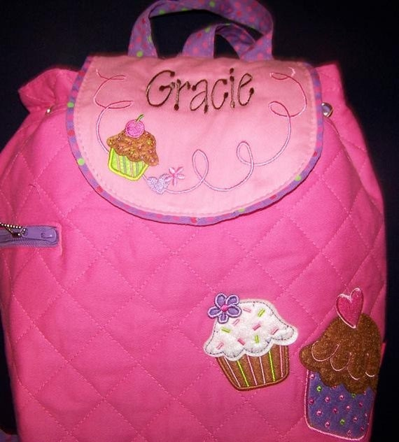 Personalized Toddler Backpack Stephen Joseph Backpack Monogrammed Backpack Cupcake Applique -- Click for More Options---